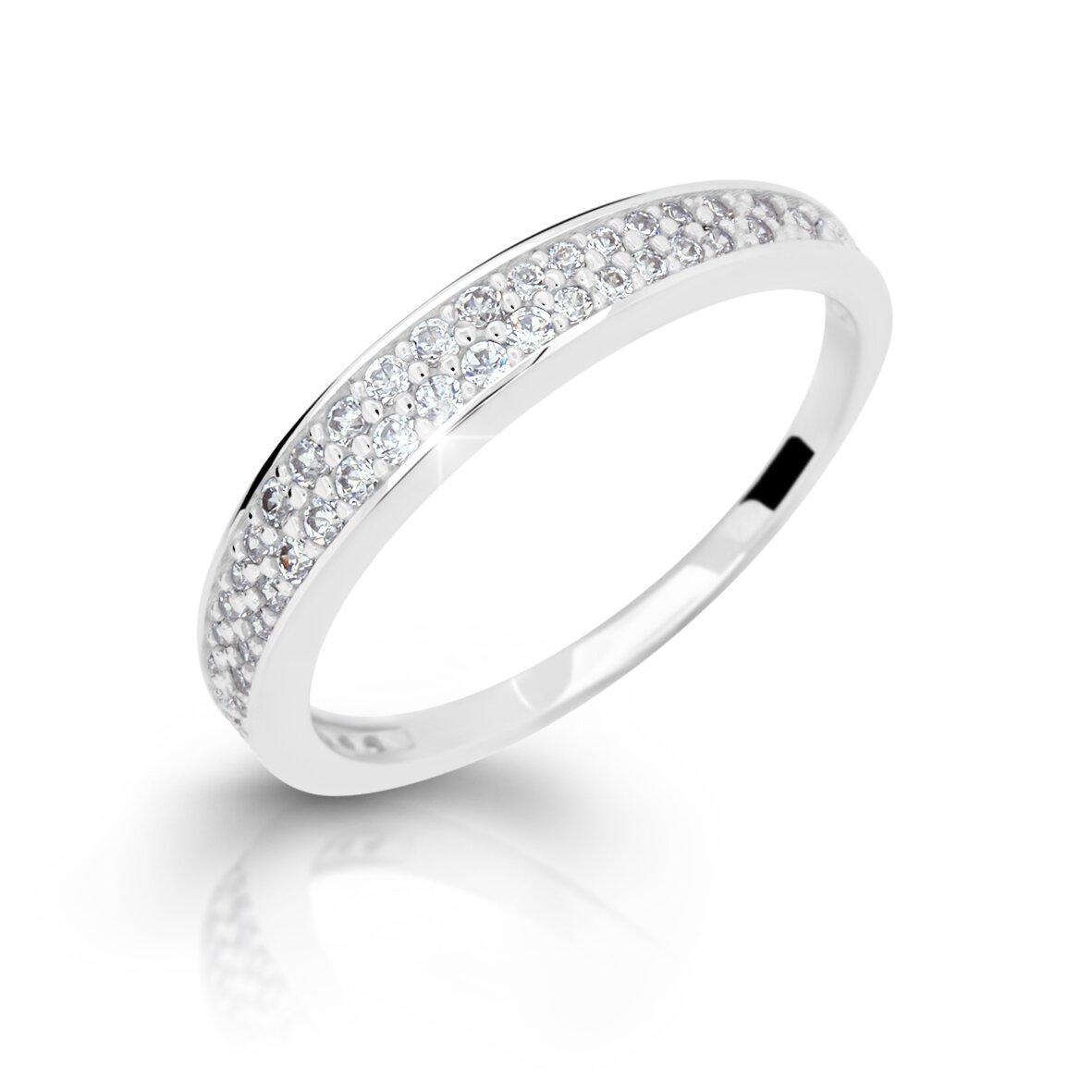 9234c2be5 Dámsky prsteň z bieleho zlata so zirkónmi DF 2649 + darčekové balenie zdarma