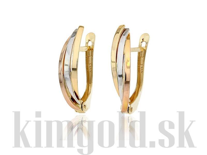 5c9d5de48 Dámske zlaté náušnice z troch farieb zlata - červené, žlté, žlté.