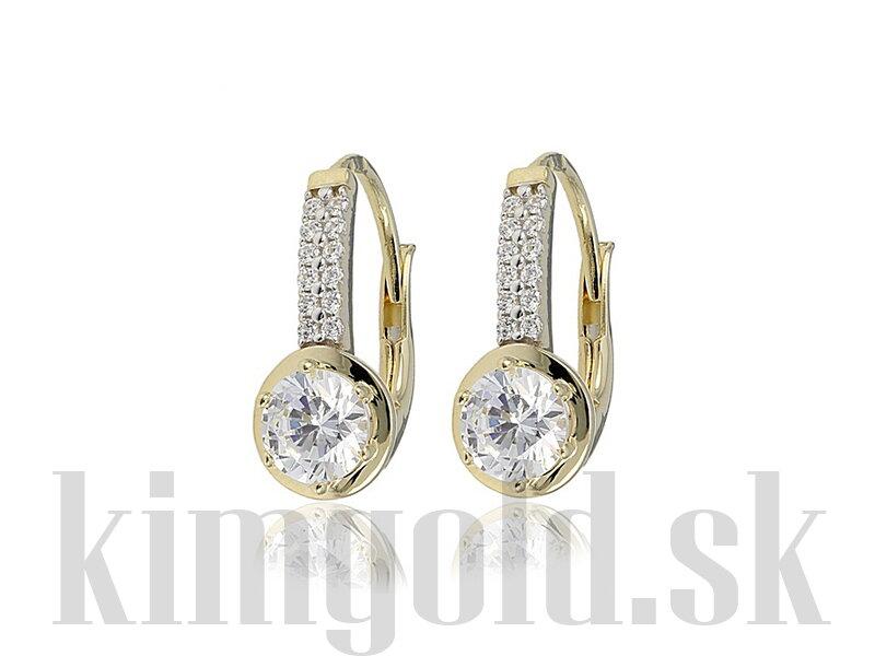 Dámske náušnice MB965221 zo žltého zlata so zirkónmi. Elegantné ... eeb440e7573
