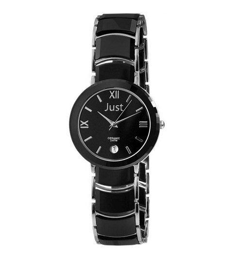 Dámske hodinky Just 48-S2720-BK . Puzdro je z ocele a keramiky a remienok z  keramiky. Majú quartzový strojček Miyota 2035. Ukazujú čas a dátum. 859ac0d92e
