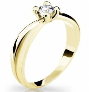 ebd4b9f2d Zásnubný prsteň DF 1861 zo žltého zlata 585/1000, s briliantom 0,220ct +  darčekové balenie zdarma