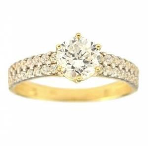 Zásnubný prsteň zo žltého zlata 585 1000 + darčekové balenie zdarma 2d0b19ff91b