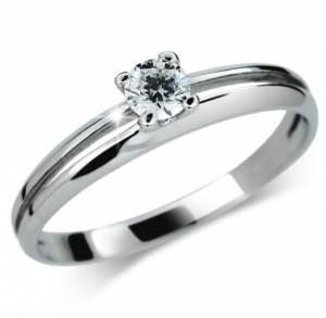 Zásnubný prsteň z bieleho zlata so zirkónom DF 1272 + darčekové balenie  zdarma c8e991c57a7
